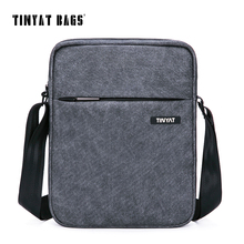 TINYAT Men's Crossbody Bag Multifunctional Men Casual Bag Quality Male Shoulder Messenger Bags Canvas Leather Handbag Gray 511(China)