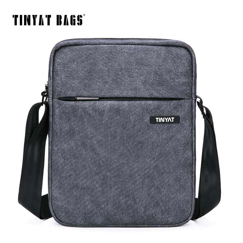 TINYAT Men's Crossbody Bag Multifunctional Men Casual Bag Quality Male Shoulder Messenger Bags Canvas Leather Handbag Gray 511(China (Mainland))