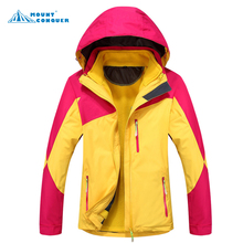 Color 2 Layer Women Jacket Outdoor Jaqueta Camping Sports Coat hiking Men Tourism Mountain Jackets Waterproof Windproof(China)