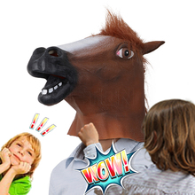 Mask Horse Head Mask Mane Latex Realistic Mask Full Face Silicone Crazy Mascara Creepy Party Halloween Adult Costume Mask