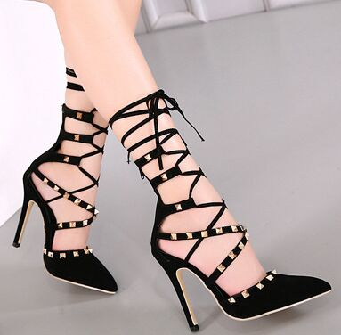 Size 4~9 Black Rivets Summer Women Shoes 2017 Hot Sexy High Heels Shoes Gladiator Women Pumps zapatos mujer (Chenk Foot Length)<br><br>Aliexpress