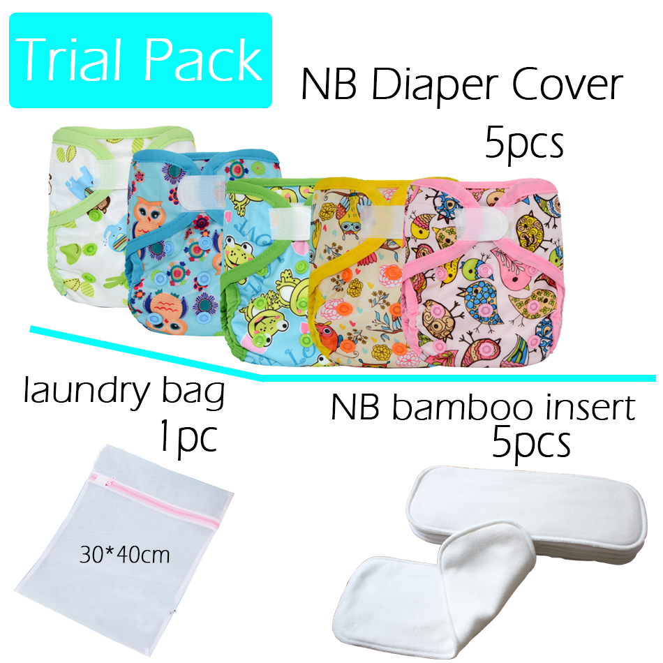 HappyFlute newborn diaper cover 5PCS,NB bamboo insert 5pcs plus 1 laundry mesh bag,NB cover fits 0-3months baby or 6-19 lbs<br>