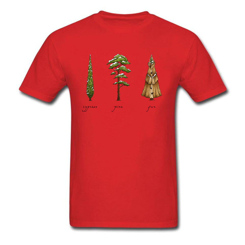 Know Your Coniferous Trees T-shirts for Men Street Fall Tops Shirt Short Sleeve Brand Printed On Tee-Shirt O Neck Pure Cotton Know Your Coniferous Trees red