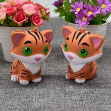 2017 New Arrivals 10CM Jumbo Animal Kawaii Squishy Tiger Doll Bread Squeeze Slow Rising Phone straps Soft Scented Cake Toys Gift(China)
