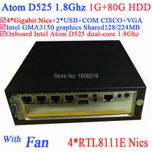 Mini PC with fan Intel Atom D525 1.8Ghz 4 Gigabit RJ45 Firewall ITX motherboard 4-way input and output GPIO 1G RAM 80G HDD