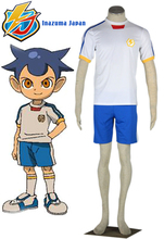 Free Shipping Inazuma Eleven Inazuma Japan Soccer team White Summer Uniform Anime Cosplay Costume(China)