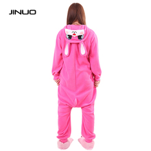 Women Adults Animal Rose Red lapin Lovely Rabbit Footed Pajamas Onesie Cosplay Pyjamas animal onesies for teenagers(China)