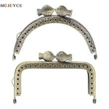 Purse Frame Hanger Embossing Kiss Fish 8.5cm Bronze Metal Clasps Purses Accessories Handles Handbags Diy Bag Parts