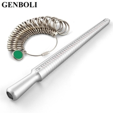 GENBOLI 2017New Silver Tester Ring Sizer Finger Sizing Measuring Stick Metal Ring Mandrel US Size Jewelry Tools Equipments
