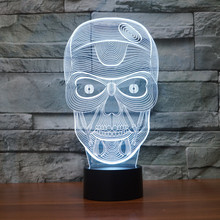 acrylic LED Light Decoration Christmas Night Lights 7 color change 3D light Skull Touch sensor desk Lamp Kids Present IY803479