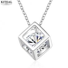 hot sale new fashion popular chain necklace jewelry 18inch chain retail crystal cube cz stone Wholesale price  N750