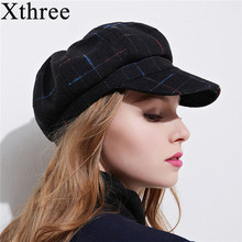 Xthree women's cottoon octagonal cap winter hat with visor fashion cap girl spring hat(China)