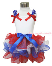 4th July Girl Plain White Pettitop Red White Blue Bow Petal Pettiskirt NB-8Year MAMH209