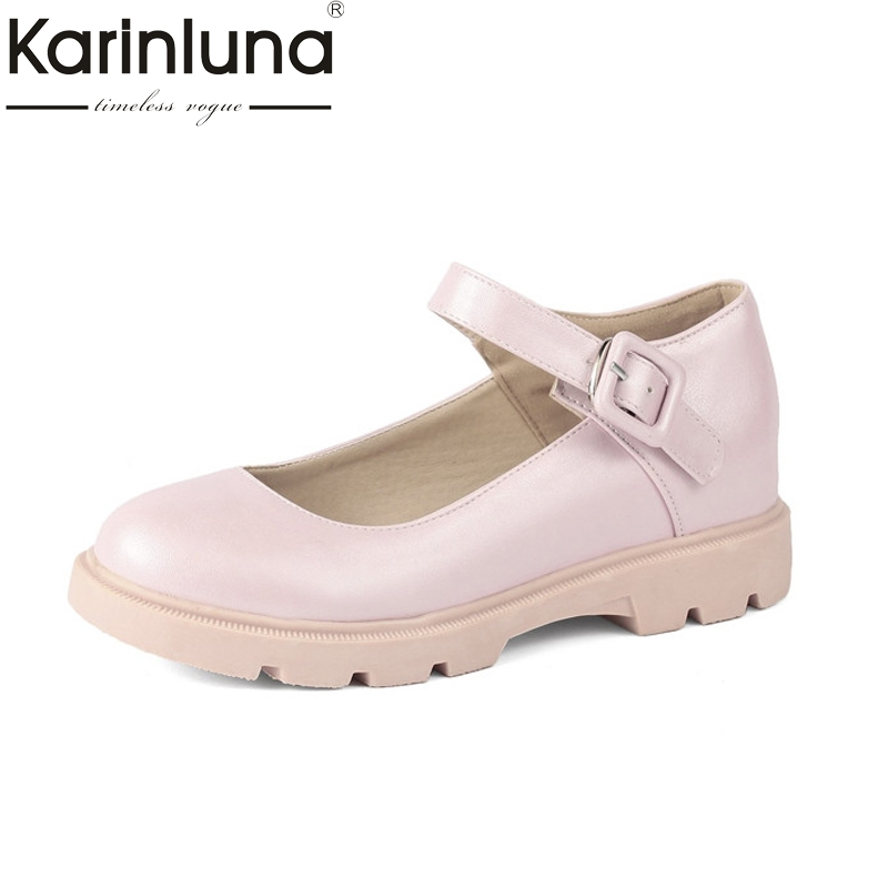 Karinluna Womens Mary Jane Buckle Up Leisure Shoes Woman Flat Comfortable Oxfords Size 34-39<br>