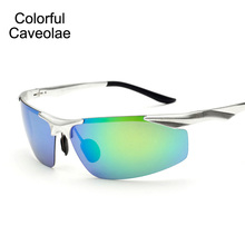 Colorful Caveolae Brand Name Men Sunglasses Fashion Colorful Polarized Sun Glasses Man Driving Gold Frame Male Glasses