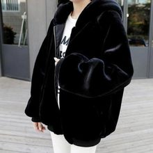 5XL 6XL 7XL Plus Size Faux Fur Coat for Women 2016 Winter Warm Thick Long Hooded Faux Fur Coats Black Outerwear WYKH8