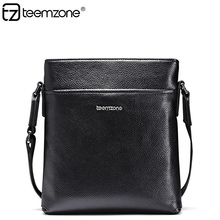 teemzone Mens Minimalist Fashion Black Cowhide Leather Casual Men's Messenger Shoulder bag Michael Korshandbag Sac Homme J30(China)