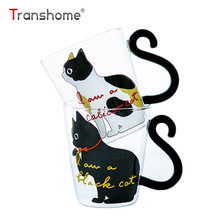 Transhome Cat Glass Mug 250ml High Quality New Fashion Creative Lovely Cat Glass Mug Tea Milk Coffee Cup With Tail Handle Travel(China)
