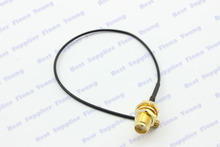 50 pcslot SMA Jack Female Bulkhead to U.FL/IPX Connector Black Pigtail Extension 1.37 Cable 17 cm