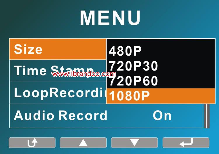 DVR menu resolution-