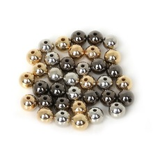 4/6/8/10/12mm 30-300pcs Gold/Rhodium/Gunmetal Plated Acrylic CCB Round Loose Spacer Beads For DIY Jewelry Making