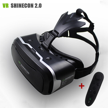 "VR Shinecon II 2.0 Helmet Virtual Reality Glasses Mobile Phone 3D Video Movie for 4.7-6.0"" phone + Remote Controller(China)"
