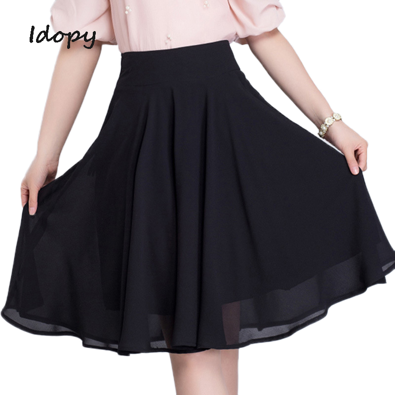 Idopy Summer Casual Womens Mini Skirts A-line Slim Fit Knee-Length Skirt Black White Pleated Beach Sexy Skirts Girls