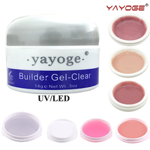 Builder gel varnish LED uv nail polish For Nail extensions manicure  YAYOGE 14g CLEAR WHITE PINK false tips Long Hard Gel