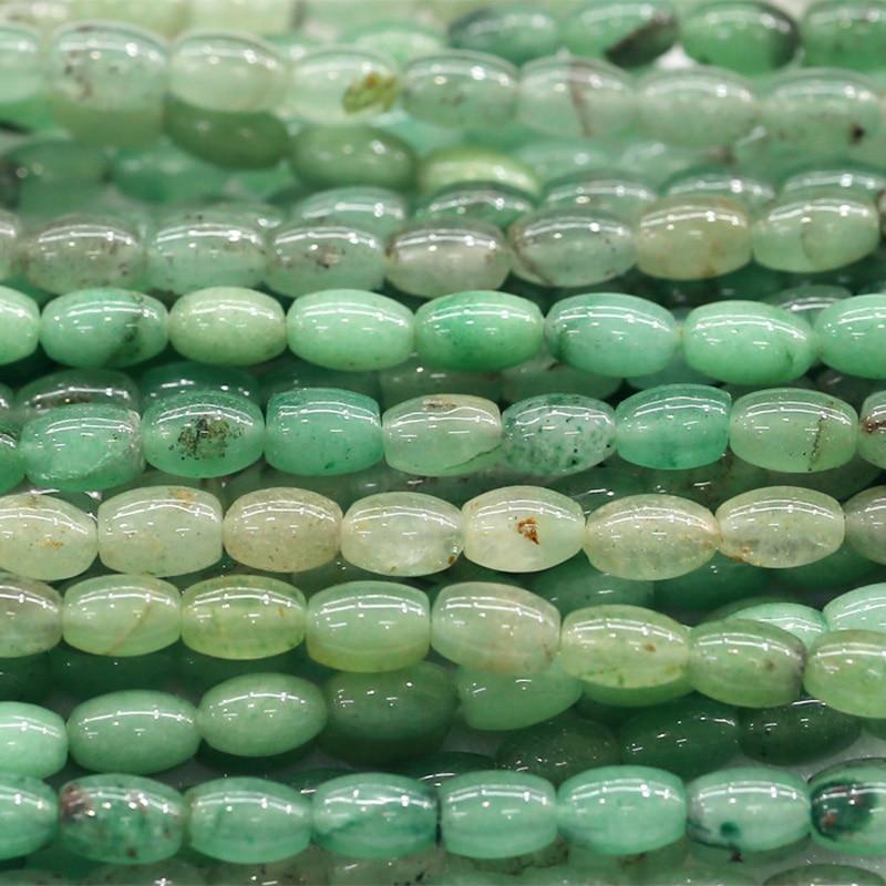 Natural 5x8mm Light Green Aquamarine Gemstone Rice-shaped Loose Beads 15/'/'