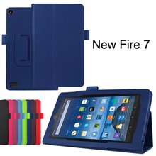 Litchi PU Leather Case Flip Cover For New Amazon Kindle Fire HD 7 HD7 2015 Generation Tablet Case
