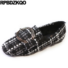 China Flats Square Toe Plaid Chinese Vintage Metal Black And White Women Dress Shoes Woven Loafers Factory Direct Spring Autumn(China)