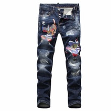 Autumn and winter mens brands printed Sun Wukong overalls denim skinny slim straight best jeans