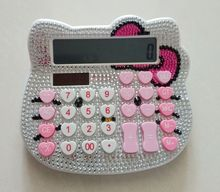12.5x14cm  12 Digit Solar Pink Rhinestone Crystal Diamond Hello Kitty Sanrio KT Calculator Dual power solar power + AA battery