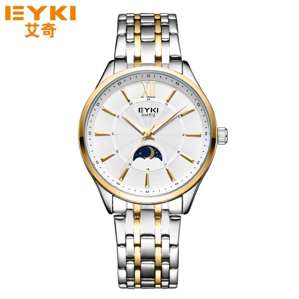 EYKI Top Brand Lovers Watches Quartz Fashion Wristwatches Casual Diamond Clocks Genuine Leather Men Watchses Women Clocks<br>