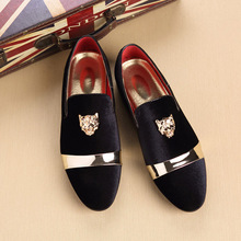 FIDANEI 가 Matte 가죽 Men 로퍼 금 Tiger Head 버클 Slip-On Casual Shoes Man) 저 (Low) 탑 Shoes Zapatos 드 험 브레와(China)
