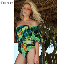 Buy 2018 Sexy One Piece Swimsuit Women Swimwear Push Bathing Suit Ruffle Swim Suit Shoulder Beach Wear Monokini Female