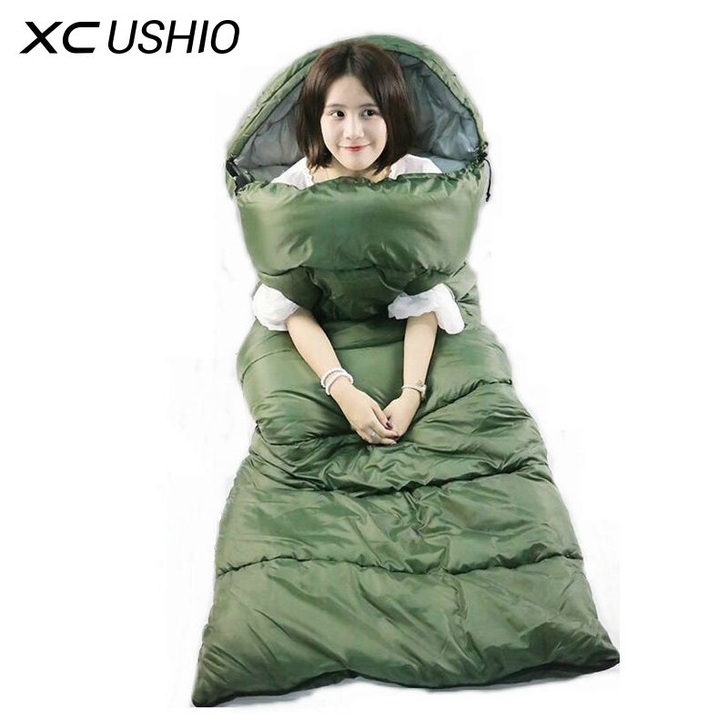 Waterproof Sleeping Bag Adult Envelope Style Spring and Autumn Camping Hiking Travelling Portable Sleeping Bag With Arm Pocket(China (Mainland))