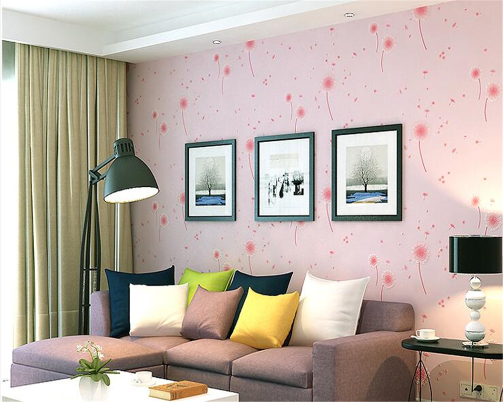 beibehang Dandelion bedroom children bedroom fresh pastoral style 3d wallpaper girl warm wedding room living room TV wall paper<br>