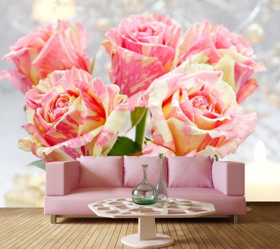 Custom murals Papel de parede,Pink Romantic Rose flower wallpaper,restaurant living room sofa TV wall bedroom 3d photo wallpaper<br>