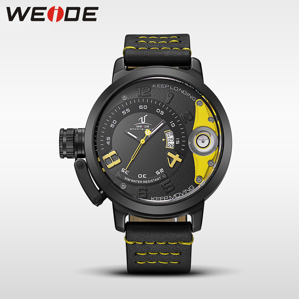 WEIDE   luxury men quartz sports wrist watch  genuine water resistant analog leather mens watch steampunk bracelet for watches<br>