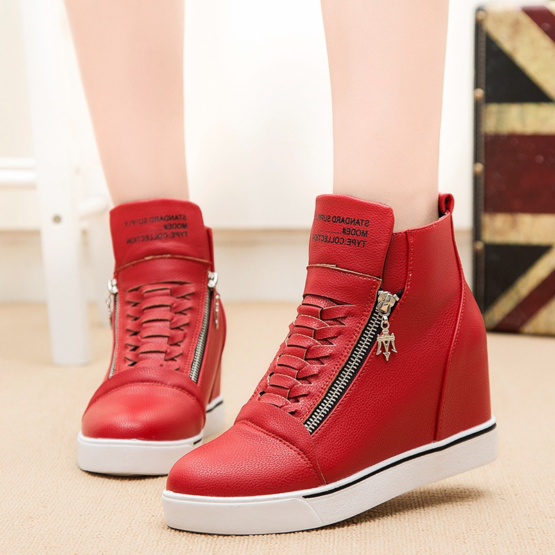 2017 Autumn Winter Ankle Boots For Women Fashion Zip Lace-up Height Increasing Wedges High-Heeled Shoes Female Casual Flat Shoes<br><br>Aliexpress