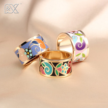 Fashion rings for women small adorn Enamel jewelry ring cloisonne handicrafts ethnic wind stainless steel rings wholesale(China)