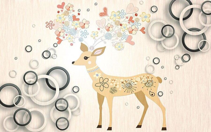 Custom 3d murals papel de parede,Beautiful flowers deer wallpaper,living room tv sofa wall bedroom 3d wall murals wallpaper<br><br>Aliexpress