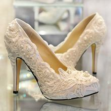 2016 Newest Ivory Lace Women Wedding Shoes Genuine Leather High Heels Custom Bridal Shoes Slip On Women Pumps Lace Party Pumps(China)