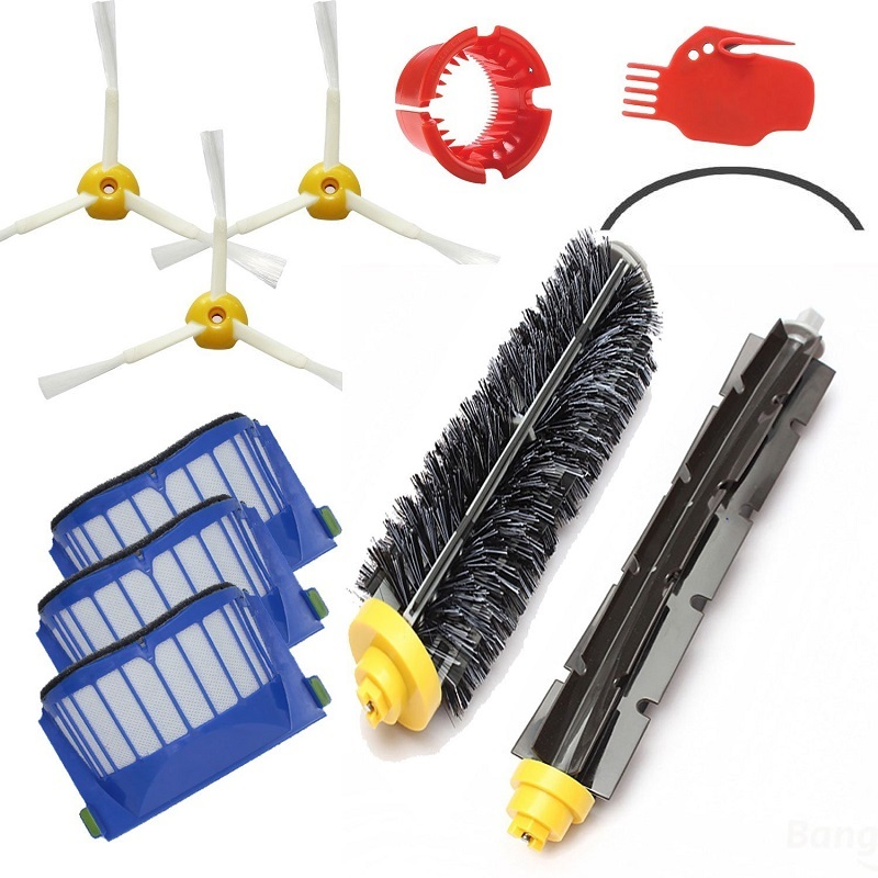 3x Robot Filter 3x Side Brush 1Beater Brush Kit Replacement for iRobot Roomba 600 Series 595 620 630 650 660 12 pcs/lot<br><br>Aliexpress