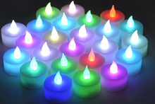 PROMOTION!12pcs LED 7 Color Change Flicking Battery Candles Light + Cup new Year decoration