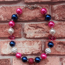 Handmade DIY baby girl jewelry cheap price 2pcs/lot red/white/blue beads bubblegum chunky necklace in stock !!