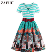 ZAFUL 2017 New Design Women Striped and Print Vintage Dress Summer Short Sleeve Knee-Length Big Swing Tunic Dress S-4XL