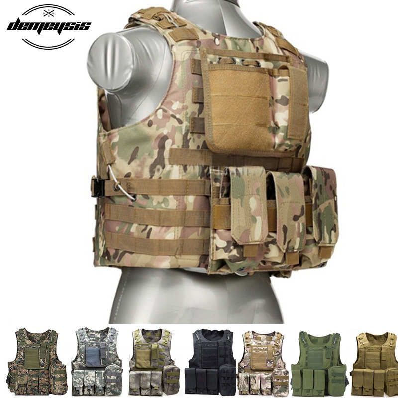 Military Tactical Vest Camouflage Body Armor Sports Wear Hunting Vest Army Molle police vest<br>