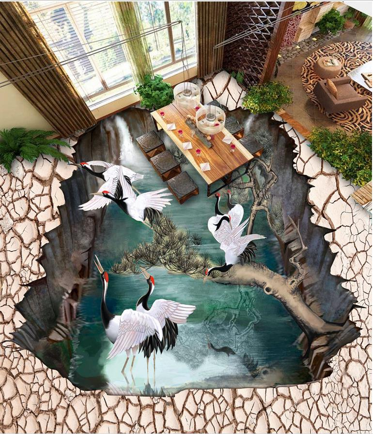 Modern sticker 3D floor 3D floor Tree Photo wallpaper PVC Wall paper self-adhesive Floor mural<br>
